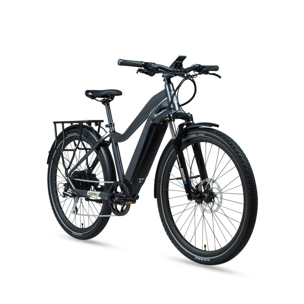 A gray 2020 Aventon Level e-bike