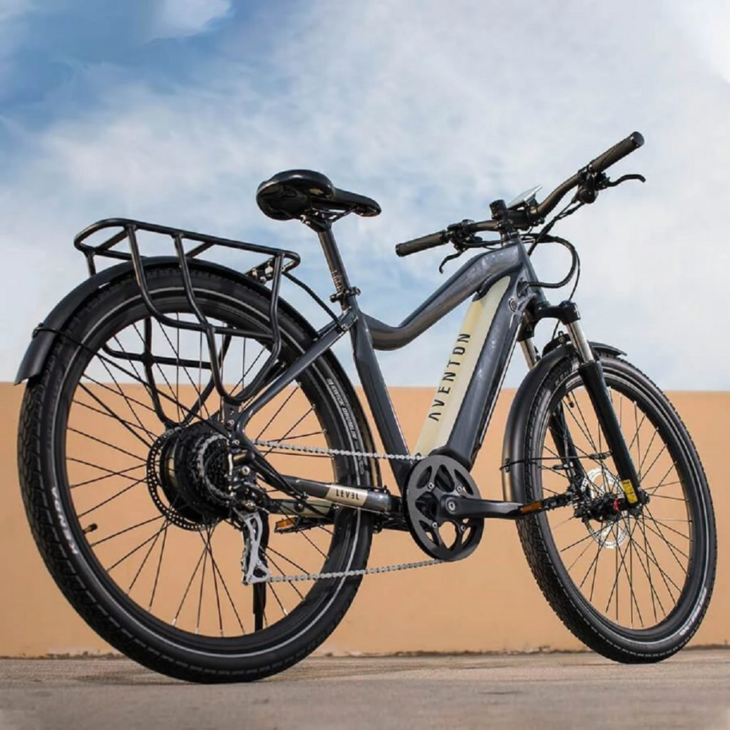 The rear view of a gray-and-cream 2020 Aventon Level e-bike