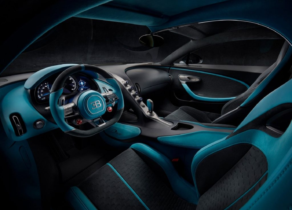 The 2020 Bugatti Divo's asymmetric black-and-blue interior