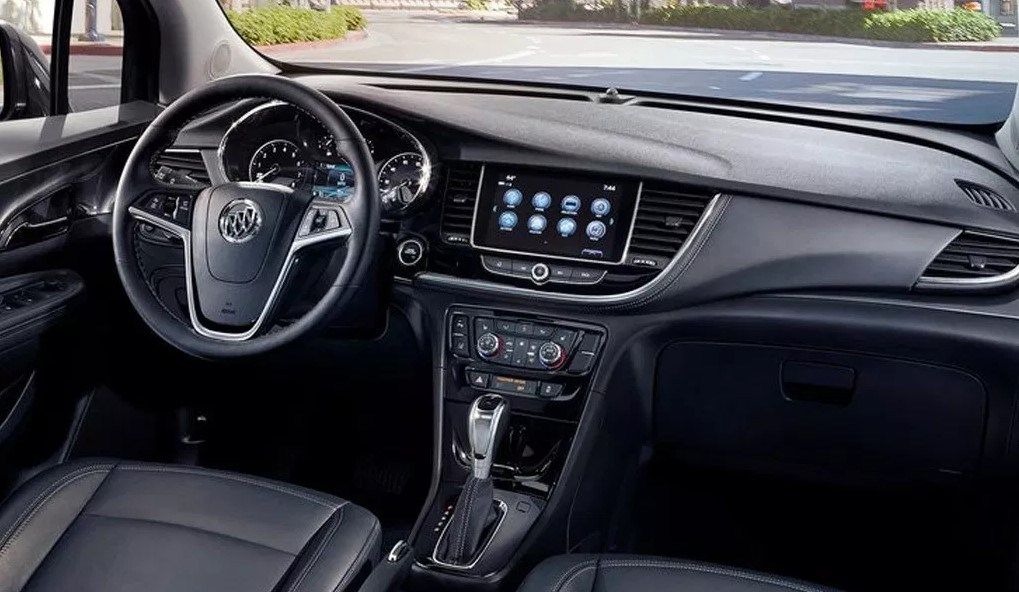 Front seats of a 2020 Buick Encore with leather seats.