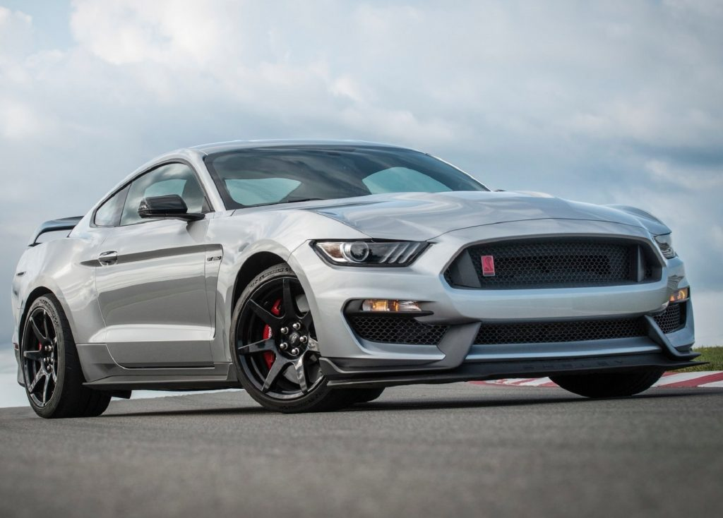 A silver-gray 2020 Ford Shelby Mustang GT350R