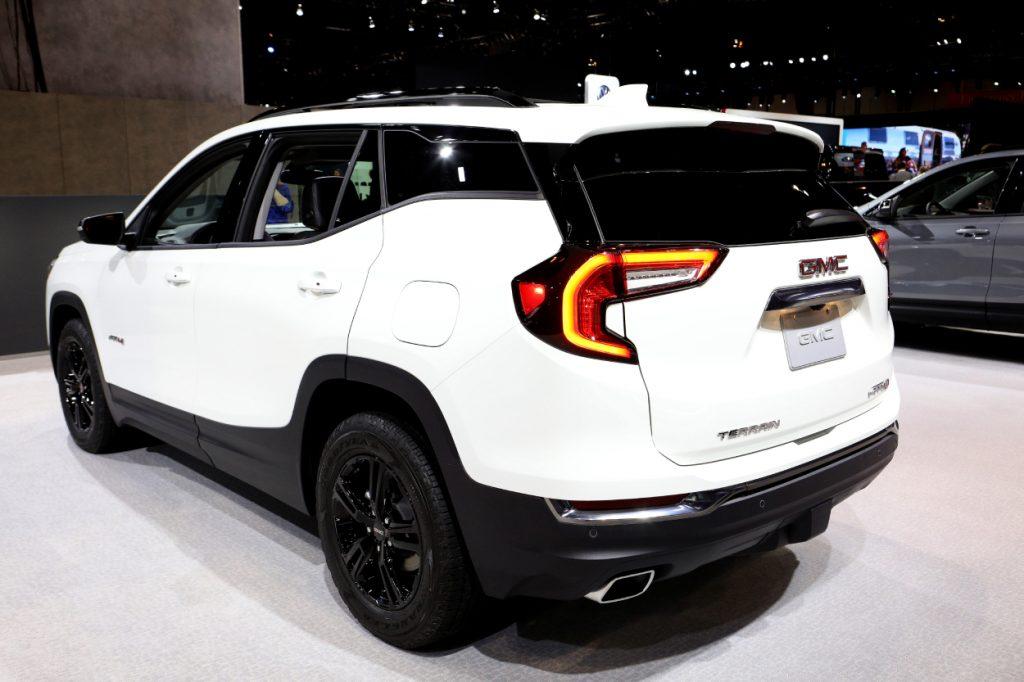 A 2020 GMC Terrain on display at an auto show