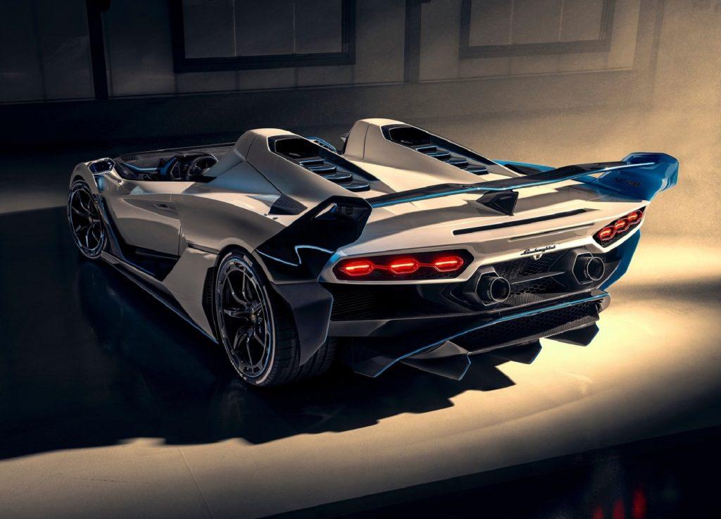 The rear 3/4 view of the white 2020 Lamborghini SC20