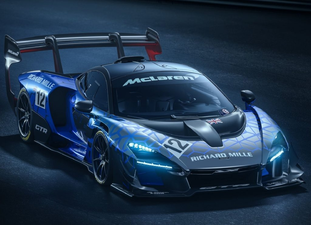 A black-and-blue 2020 McLaren Senna GTR