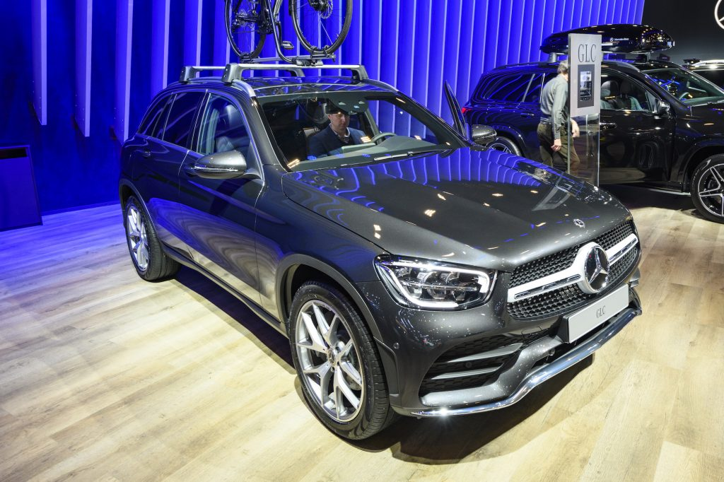 A dark-gray metallic Mercedes-Benz GLC luxury crossover SUV on display at Brussels Expo on January 9, 2020, in Brussels, Belgium.