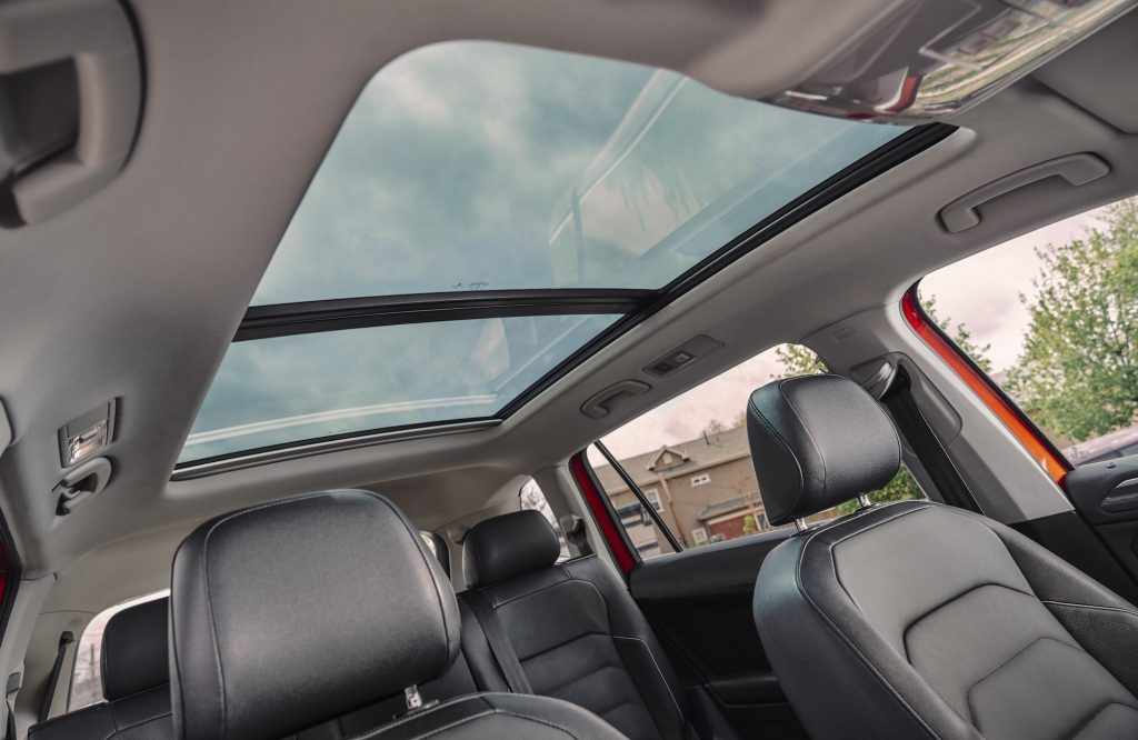 A panoramic sunroof on a 2020 Volkswagen Tiguan