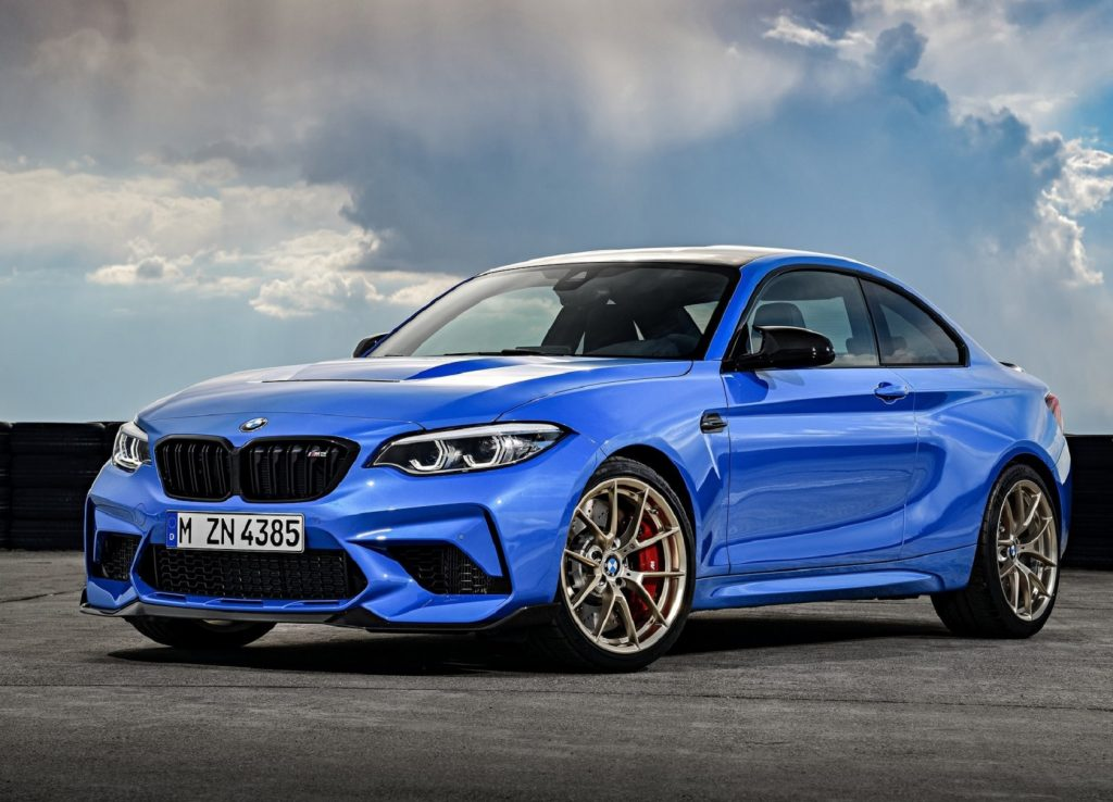 A blue 2021 BMW M2 CS on a racetrack