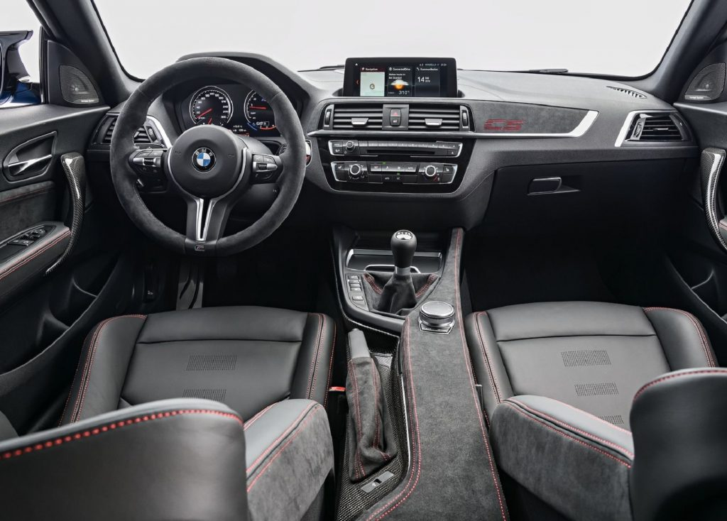 The Alcantara-and-carbon-fiber-clad 2021 BMW M2 CS's interior