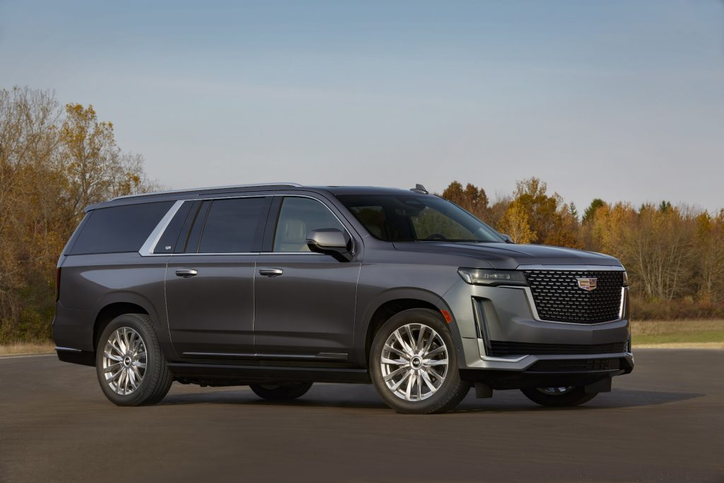 A photo of a 2021 Cadillac Escalade parked outside.