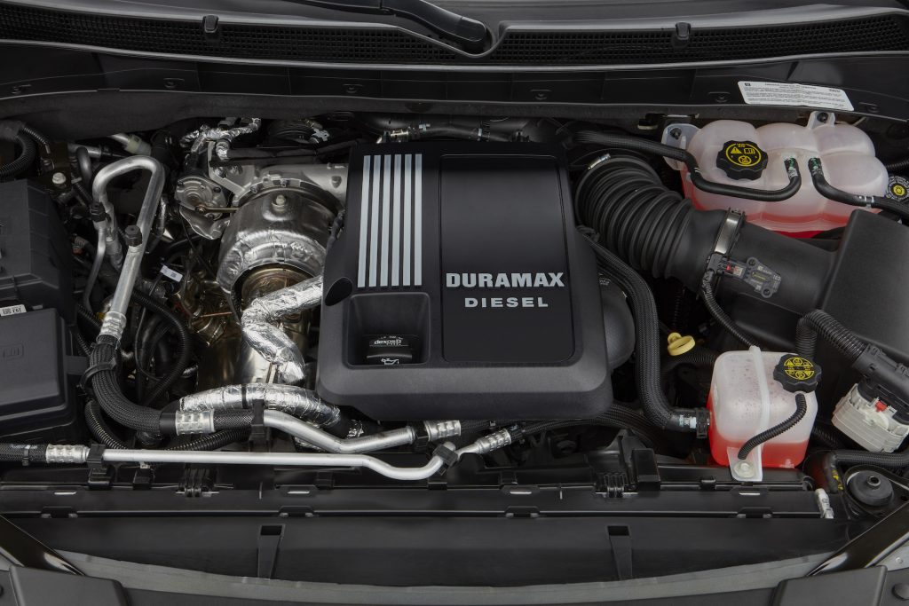 An image of the turbo-diesel engine that lives under the Cadillac Escalade's hood.
