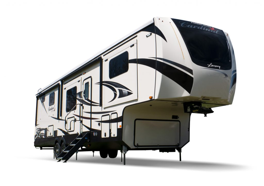 The parked 2021 Cardinal luxury fifth-wheel RV.