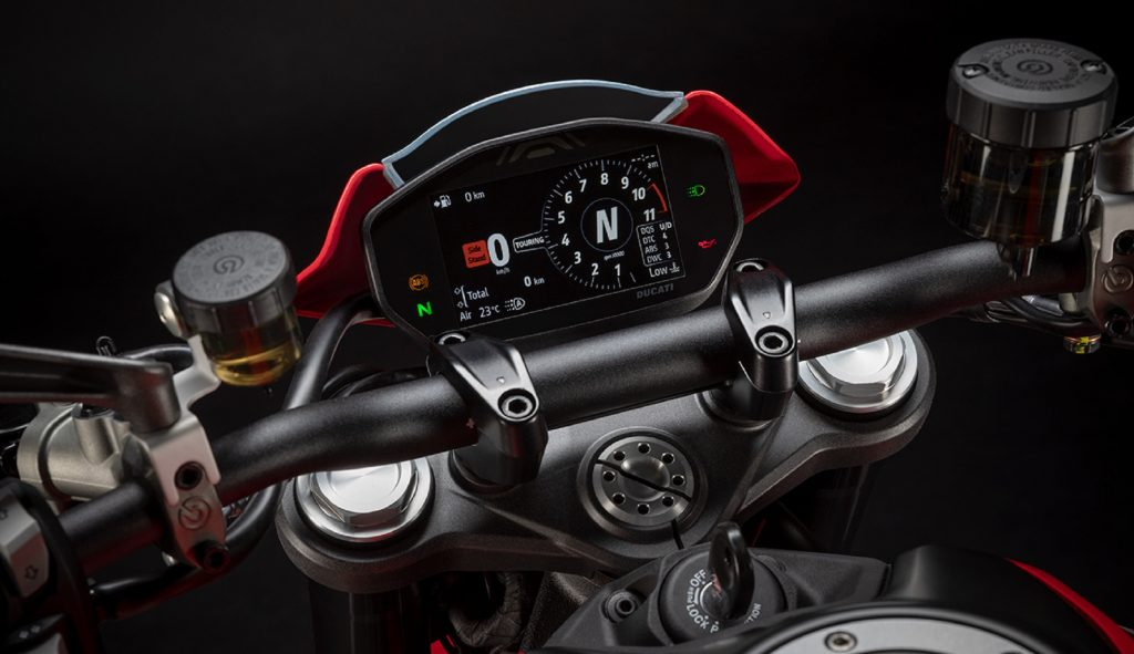 A close-up of the 2021 Ducati Monster Plus' TFT display
