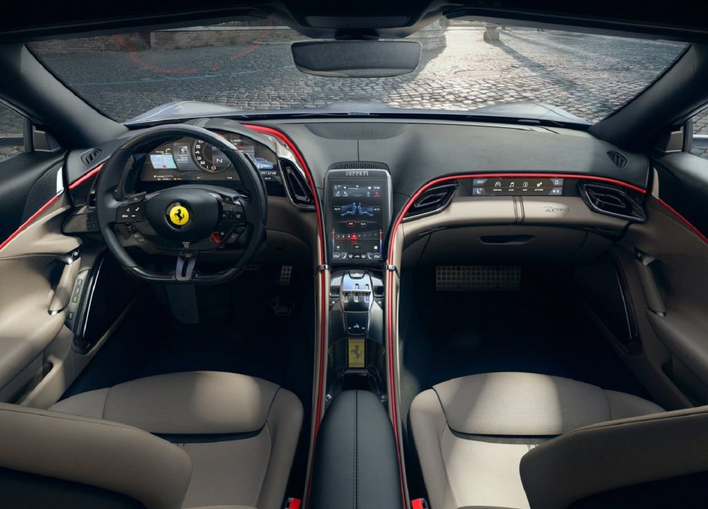The 2021 Ferrari Roma's dashboard and tan-leather front seats