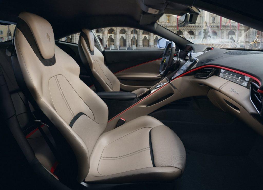 A side view of the 2021 Ferrari Roma's interior