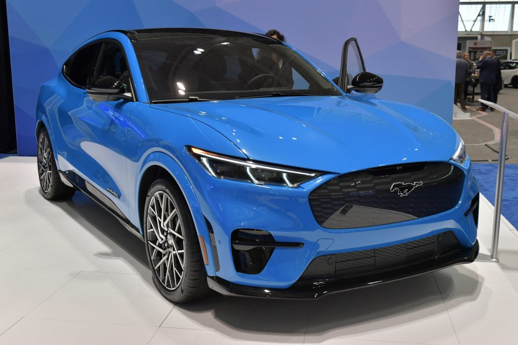 An electric Ford Mustang Mach-E is seen at the 2020 New England Auto Show Press Preview at Boston Convention & Exhibition Center on January 16, 2020. in Boston, Massachusetts.