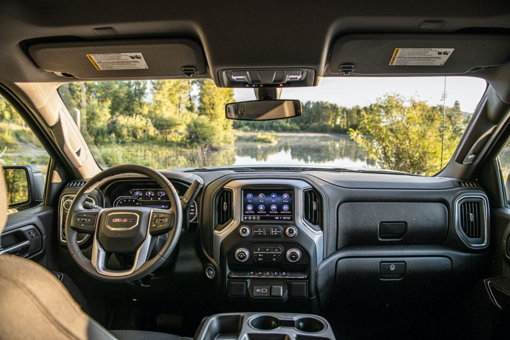 The interior of the 2021 GMC Sierra
