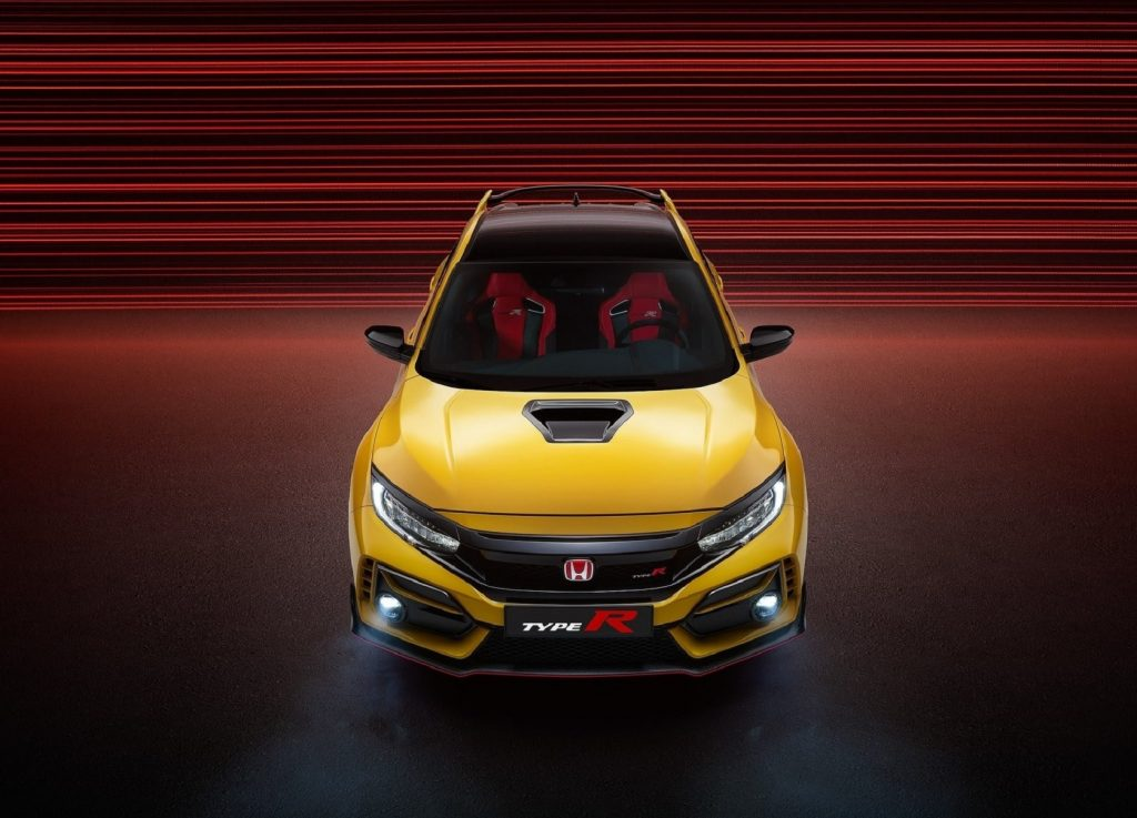 Overhead front view of the yellow 2021 Honda Civic Type R Limited Edition