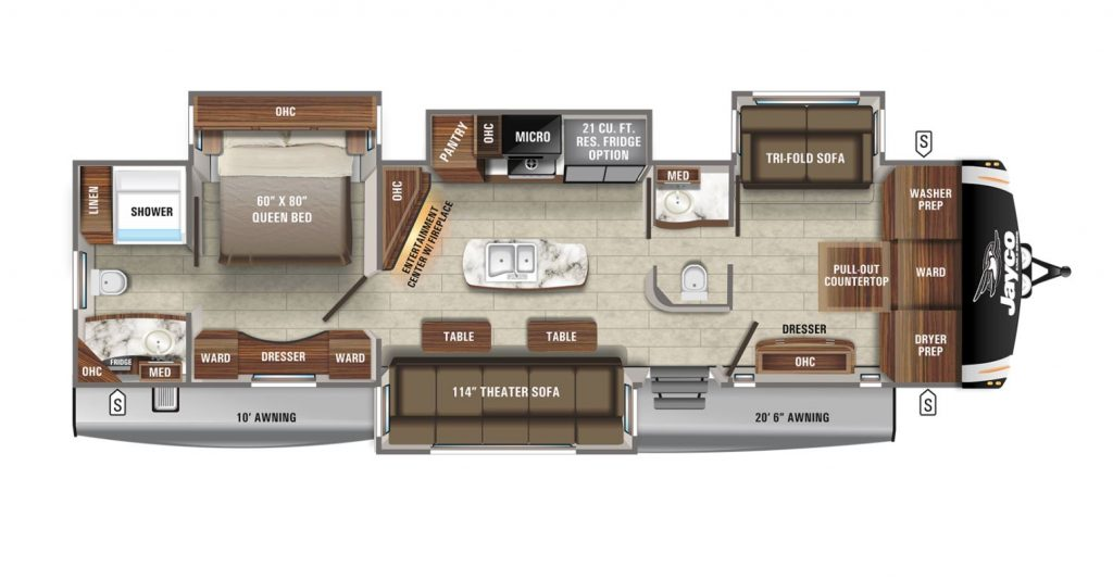 The floorplan for the 2021 Eagle 340DROK travel trailer RV by Jayco.