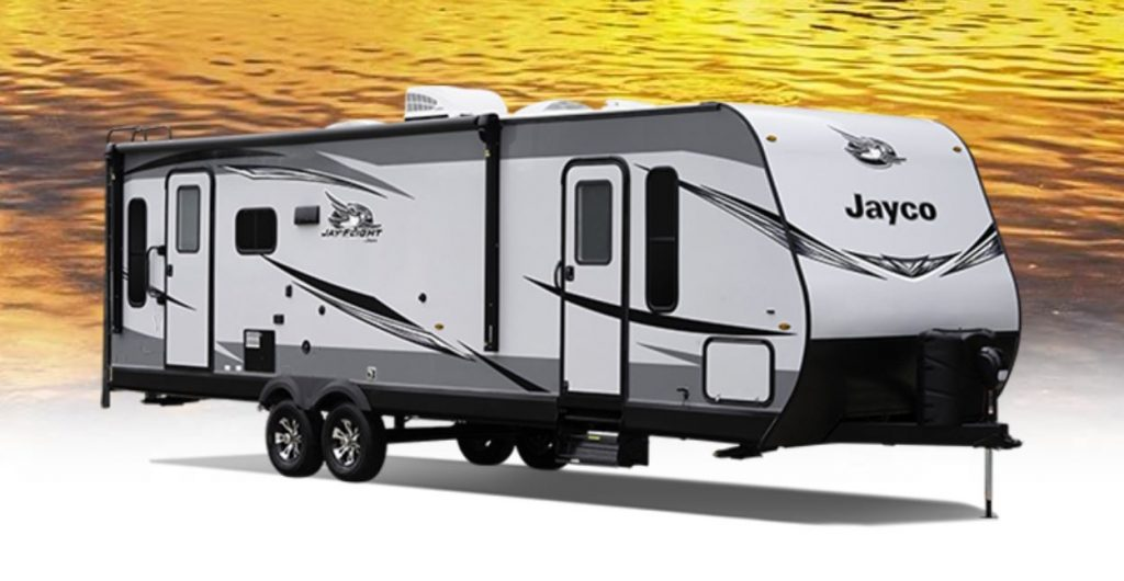 The double axle, 2021 Jay Flight 34RLOK by Jayco RV