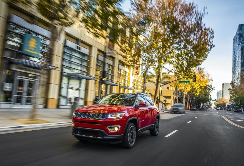 2021 Jeep Compass driving in a city area