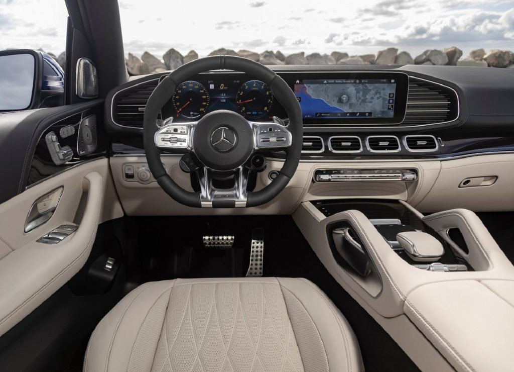 The 2021 Mercedes-AMG GLE 63 S's light-tan-leather front seats and black dashboard
