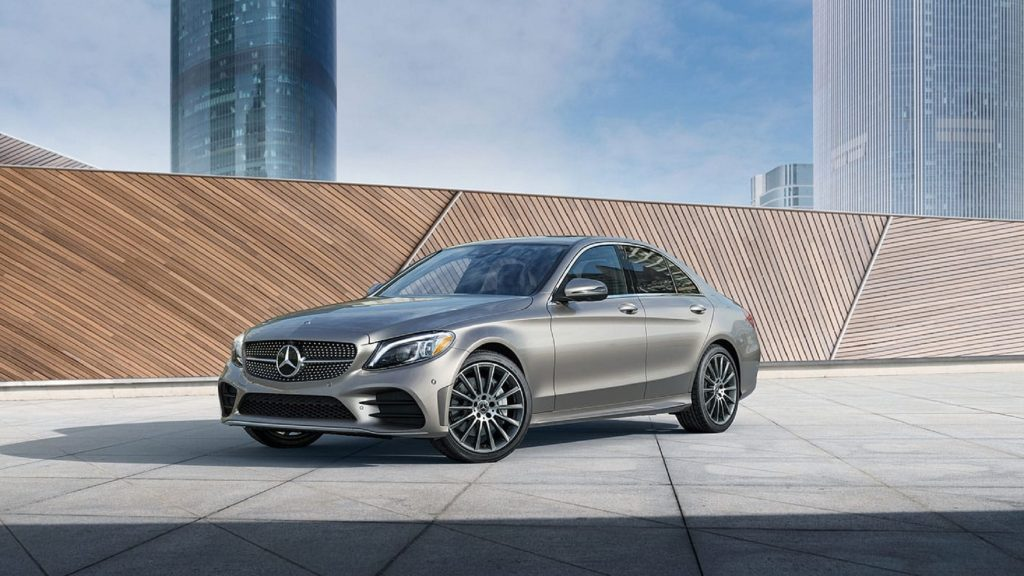 A gray-brown 2021 Mercedes-Benz C-Class sedan