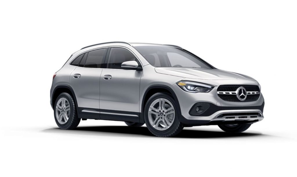 A silver 2021 Mercedes GLA on a white background