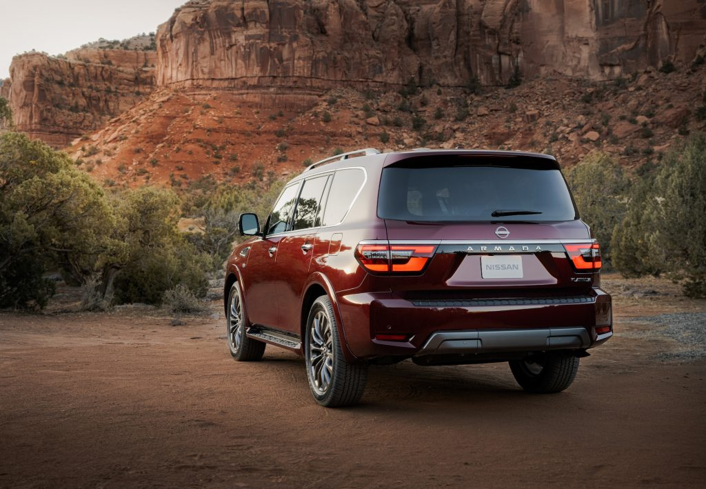 An image of the 2021 Nissan Armada off-roading outdoors.