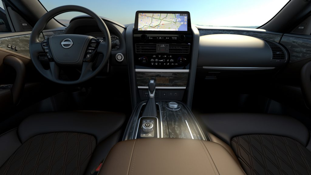 A view of the 2021 Nissan Armada's center console and dashboard