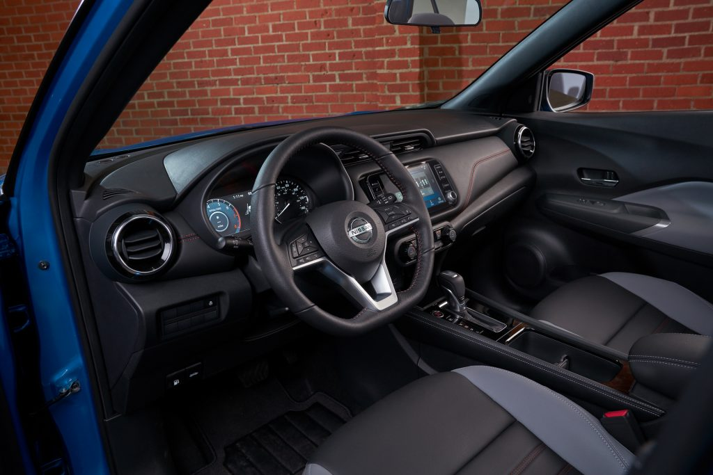 An image of the 2021 Nissan Kicks in-studio showing its new design cues.