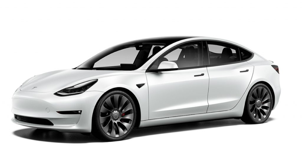 A white 2021 Tesla Model 3 Performance