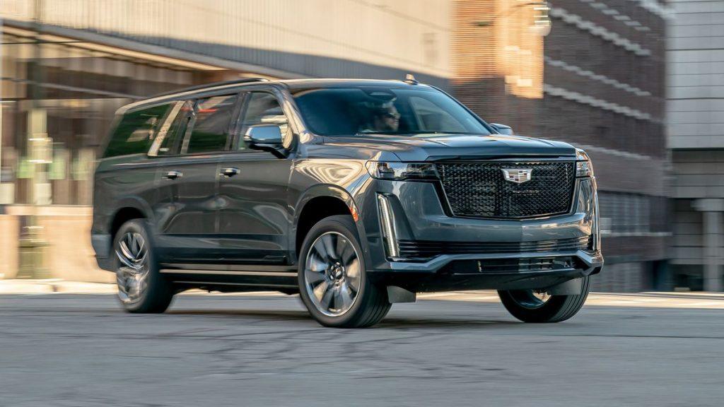 2021 Cadillac Escalade driving on street