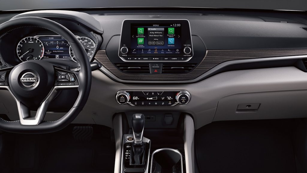 Center console of the 2021 Nissan Altima Platinum edition.