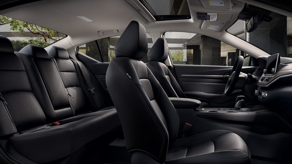 Side interior view of the 2021 Nissan Altima Platinum Edition model.