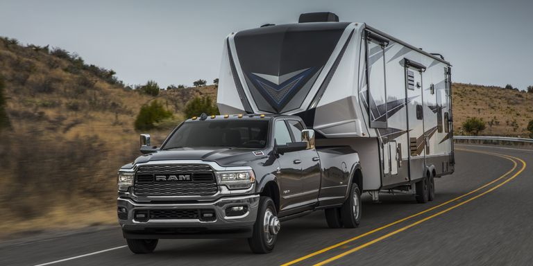 2021 Ram 3500 towing an RV