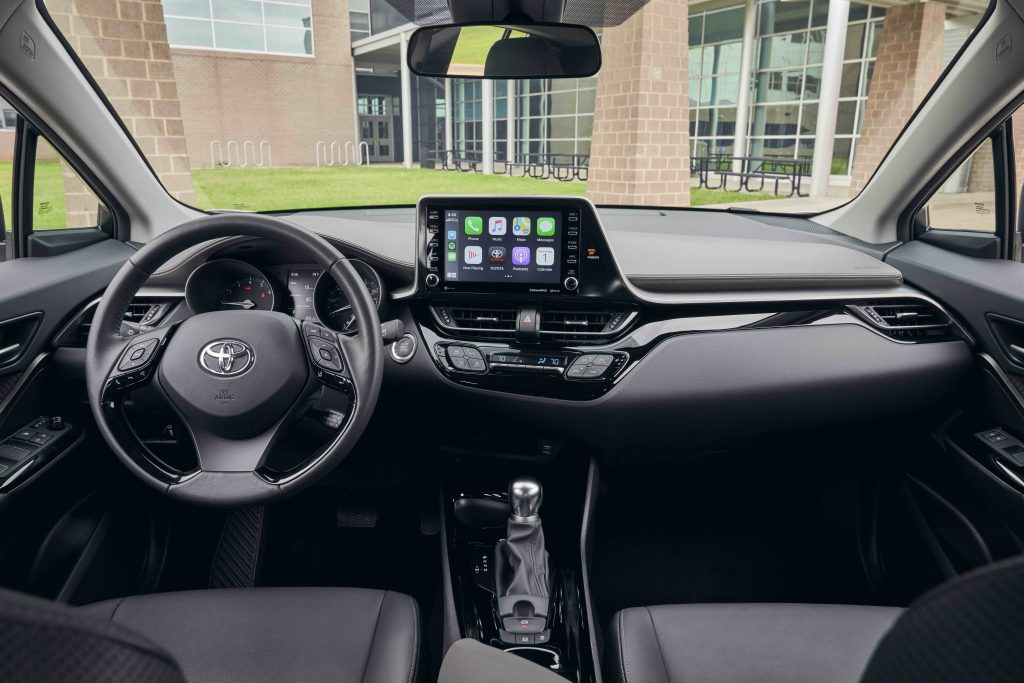 A 2021 Toyota C-HR interior with leather.