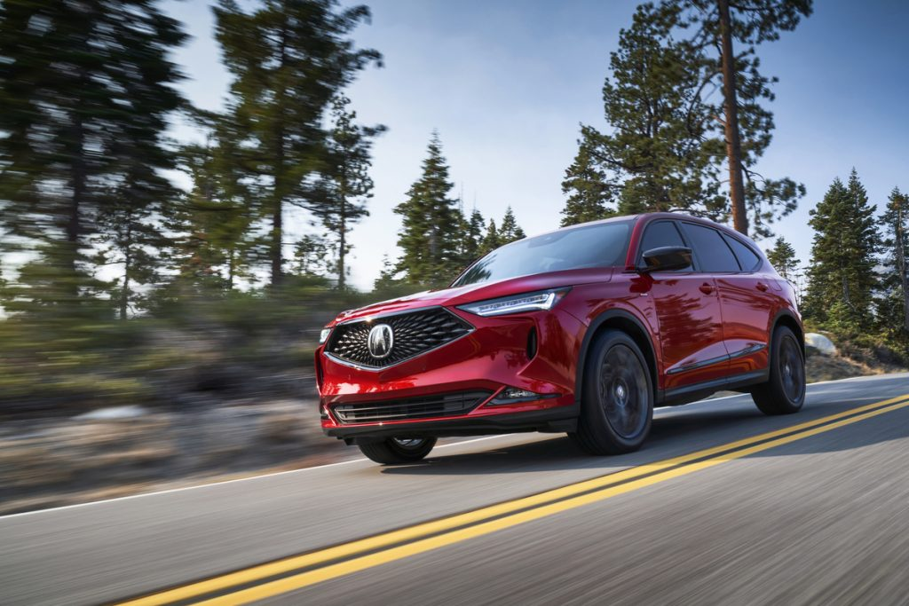 2022 Acura MDX outdoors on the road.