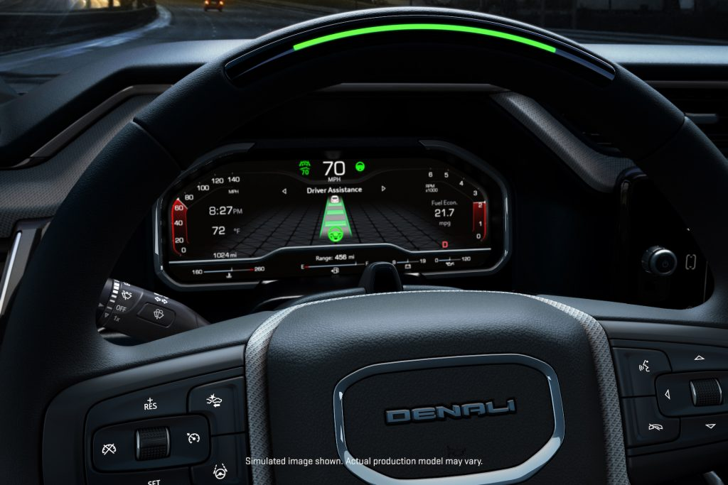 An image of the dashboard of a 2022 GMC Sierra featuring the Super Cruise driver assist system.