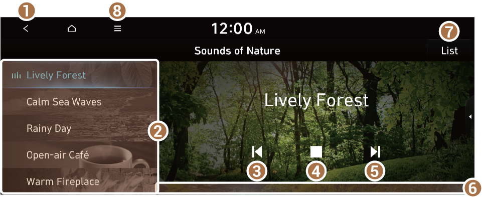 an image from the Hyundai Sonata manual showing how to use Nature Sounds