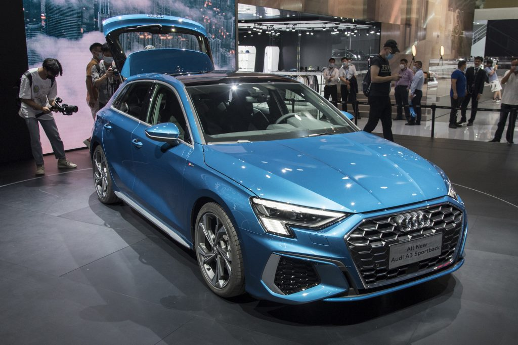 Some observers think the 2022 Honda Civic resembles an Audi A3. This Audi A3 Sportback vehicle is on display during the 18th Guangzhou International Automobile Exhibition at China Import and Export Fair Complex on November 20, 2020, in Guangzhou, Guangdong Province of China.
