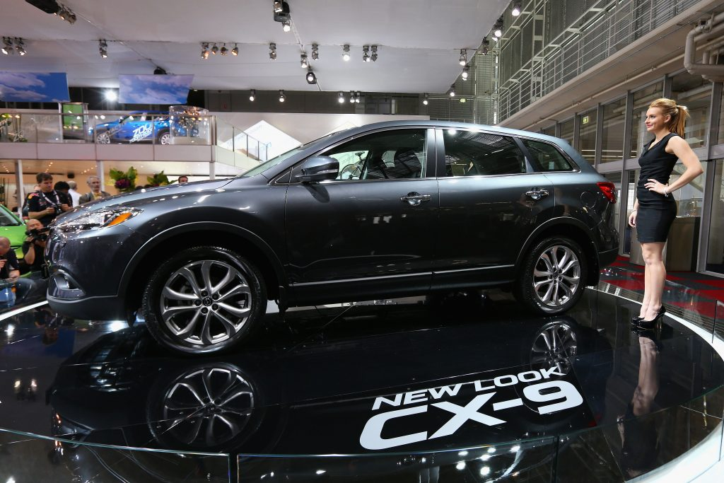 A Mazda CX-9 on display at an auto show