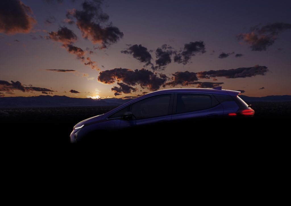 A dark image of the next-generation Chevy Bolt.