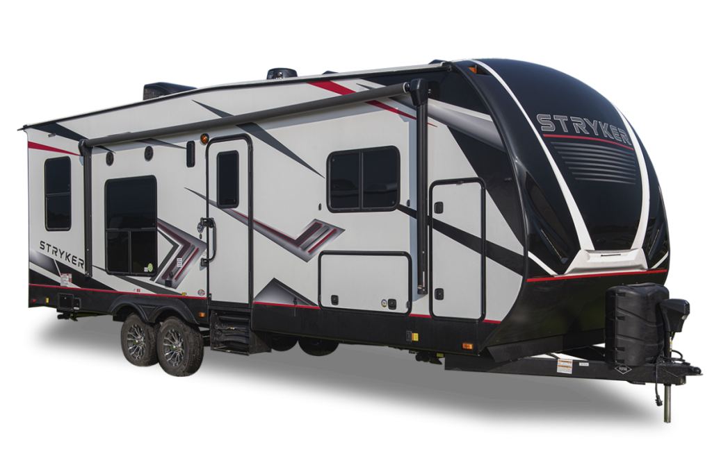 A white, long Stryker toy hauler travel trailer RV against a white background.