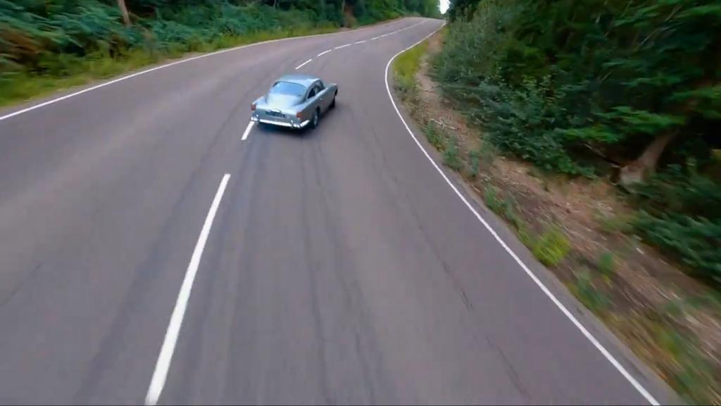 The Stig drifting the Aston Martin DB5 from James Bond