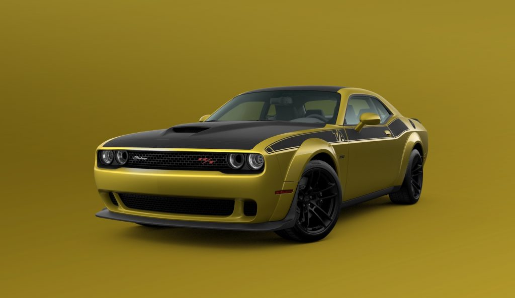 A digital image of a 2021 Dodge Challenger featuring the new Gold Rush paint color.