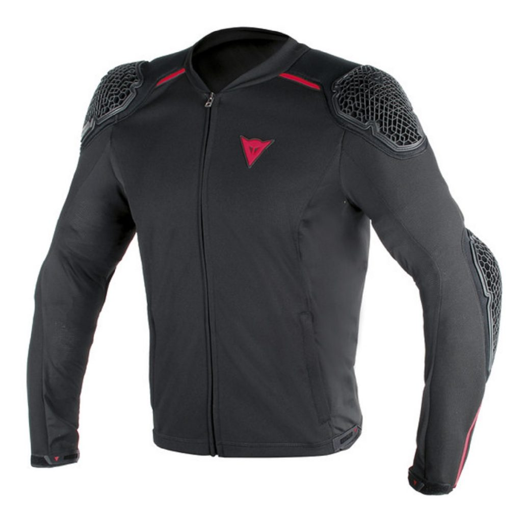 A black Dainese Pro-Armor motorcycle jacket