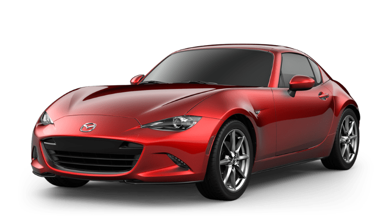 a press photo of a red 2020 Mazda MiX-5 Miata RF against a white backdrop
