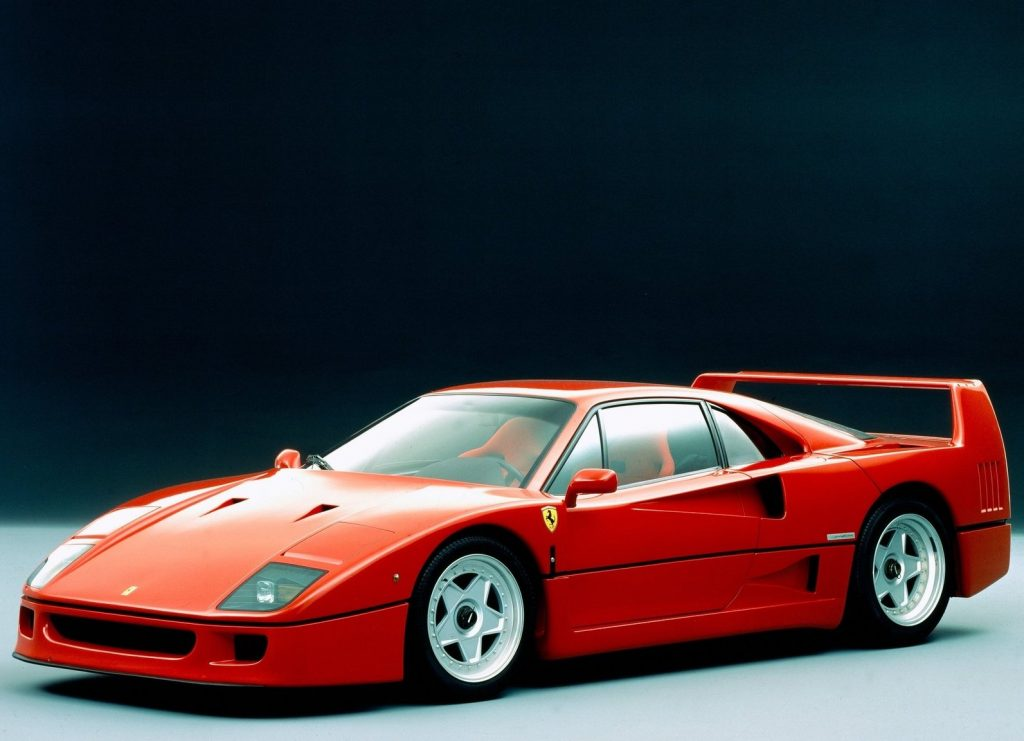 An image of a Ferrari F40 in the studio.