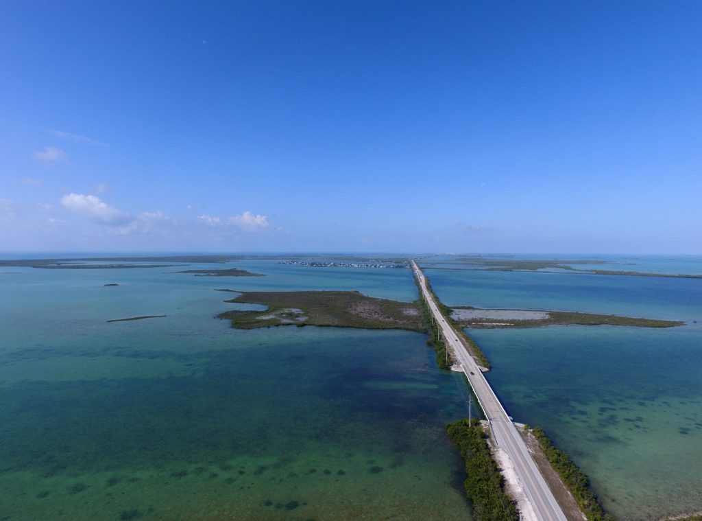The Florida Overseas Highway seen from an aerial view