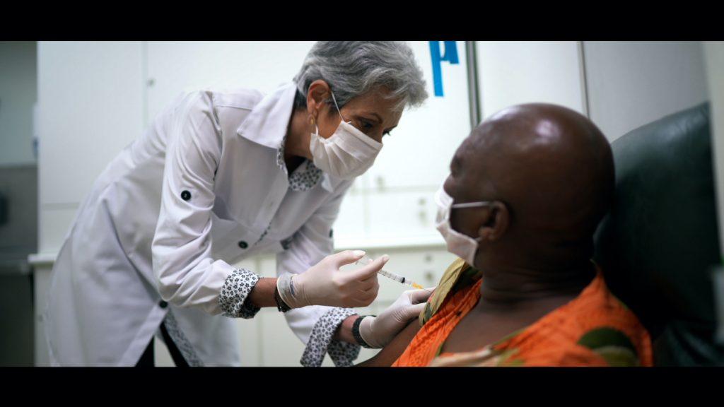 Someone receiving the coronavirus vaccine